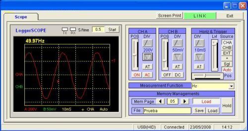 Sur la photo vous pouvez observer le logiciel des oscilloscopes PCE-OC 1